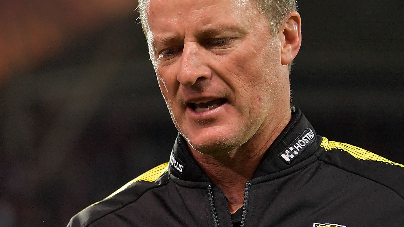 Crows fan riles Hardwick after AFL loss