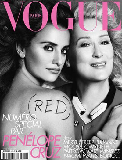 Streep shared cover duty with Penelope Cruz on French <em>Vogue </em>in May, 2010.
