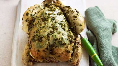 "Recipe: <a href=""http://kitchen.nine.com.au/2016/05/16/17/51/lemon-and-thyme-baked-chicken"" target=""_top"">Lemon and thyme baked chicken</a>"