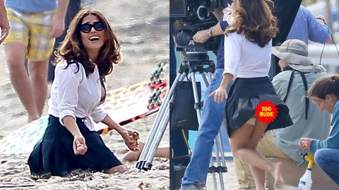 Beach bum: Salma Hayek suffers windy wardrobe malfunction