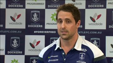 Luke McPharlin at today's press conference. (9NEWS)