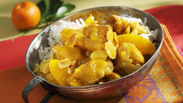 Chicken and orange curry with basmati rice
