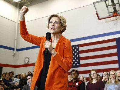 Elizabeth Warren speaks to supporters in Marshalltown, Iowa.