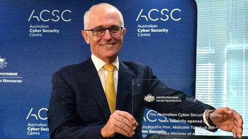 Prime Minister Malcolm Turnbull pictured at the Australian Cyber Security Centre at the Brindabella Business Park in Canberra today.