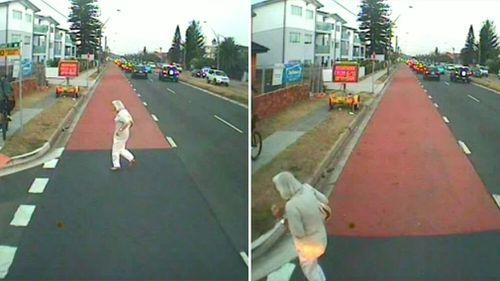 In a separate incident on Pittwater Road in Collaroy, an eldery woman missed hitting a bus by centimetres. Picture: 9NEWS