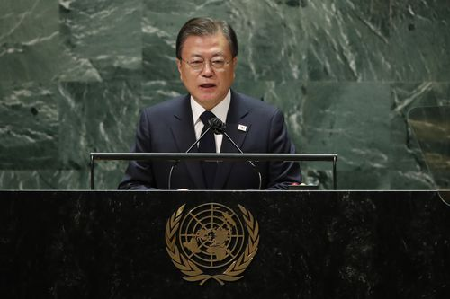 South Korea's President Moon Jae-in addressed the 76th Session of the UN General Assembly.