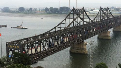 A bridge leading from the Chinese town of Dandong to the North Korean town of Sinuiju. (AAP)