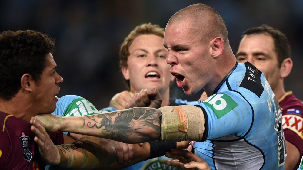 Blues David Klemmer and Dane Gagai face off (AAP)
