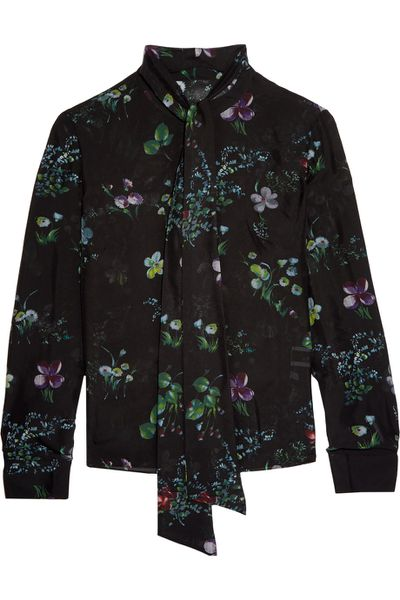 """The smart shirt <a href=""""https://www.theoutnet.com/en-AU/Shop/Product/Iris-and-Ink/Floral-print-silk-georgette-blouse/753240"""" target=""""_blank"""">Iris & InkFloral-Print Silk-Georgette Blouse, $187. </a><br>"""