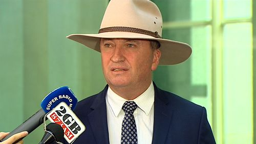 "Barnaby Joyce speaking to reporters outside Parliament today. ""I thought (Mr Turnbull's attack) was completely unnecessary and all that is going to do is basically pull the scab off to everybody to have a look at,"" he said. (9NEWS)"