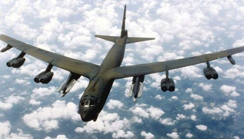 An American B-52 bomber similar to the pair that flew over a contested island in the South China Sea earlier this week.