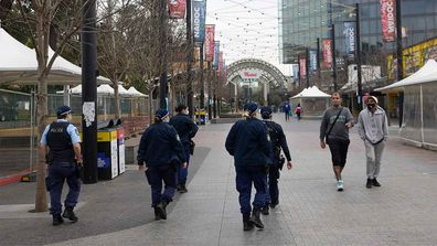 Police patrolling the streets of Liverpool in western Sydney.