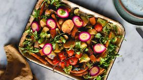 Tray bake with beetroot pickled eggs