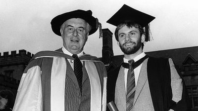 Whitlam with future Labor leader Mark Latham in 1982. (Supplied)