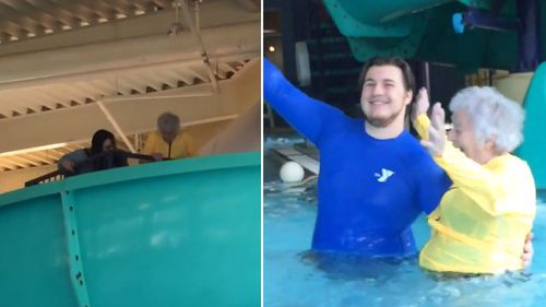 Lucy, 93, overcame her fear of water by going down her first slide (Facebook)