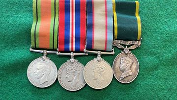 Some of the war medals belonging to Douglas Downs.