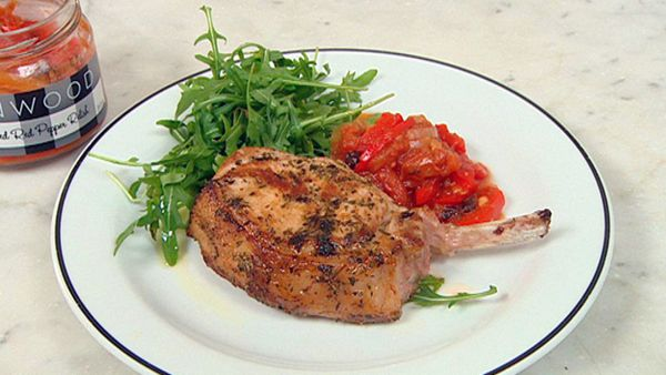 Pork chop with red pepper relish