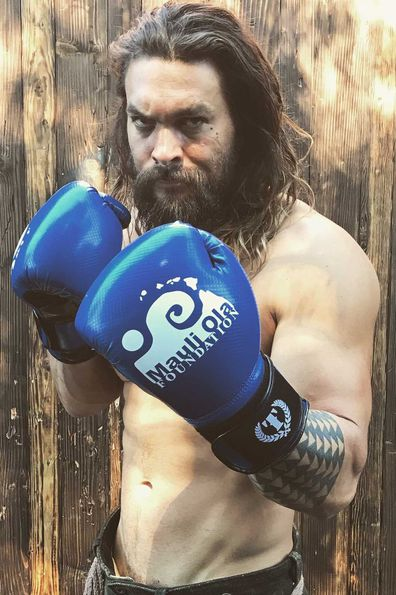 Jason Momoa trains for Aquaman in March, 2017.