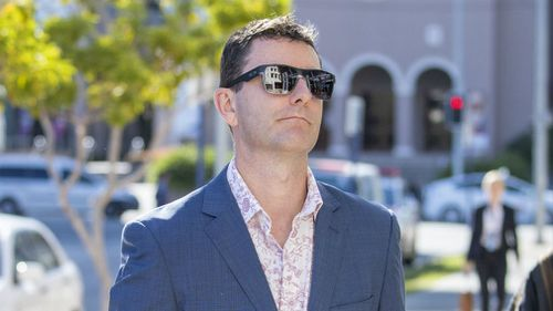 Mathew Low, husband of victim Cindy Low is seen arriving at the inquest into the Dreamworld disaster. Picture: AAP