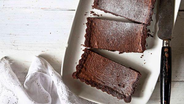 Salted silky double chocolate tart