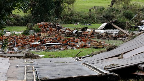 he remains of two houses swept away during flooding in Dungog in the NSW Hunter region. (AAP)