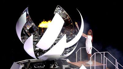 Naomi Osaka lights the cauldron.