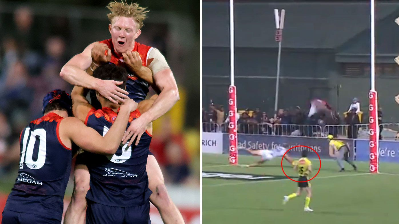 Goal review controversy reigns supreme as Christian Petracca stars in Demons' thrilling win over Saints