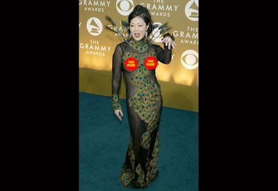 "Comedian Margaret Cho did her best ""sexy peacock"" impression at the 2004 Grammys. <br/><br/>It's actually a little scary."