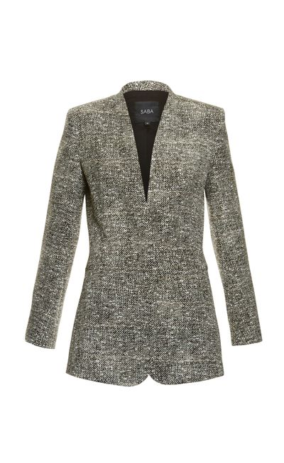 "<p><strong>#2 The I-mean-business blazer</strong><br /><a href=""http://www.saba.com.au/tweed-print-jacket-9321143794139.html#start=8&amp;cgid=womenswear-jacketscoats"" target=""_blank"">Jacket, $350, Saba</a></p>"