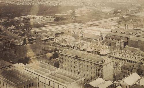 Birds eye view of Melbourne in 1874.