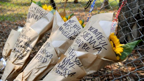 Floral tributes for Danny Abdallah's three children Anthony, Angelina and Sienna.