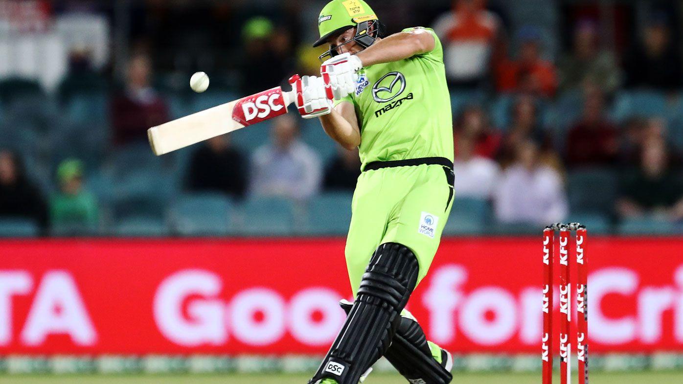 Daniel Sams cracks a stunning six in his match-saving innings. (Getty)