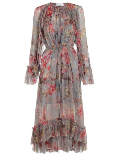 "<strong><a href=""https://www.zimmermannwear.com/mercer-floating-dress-blue-floral.html"" target=""_blank"">Zimmermann</a></strong> floral dress, $1100<br />"