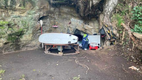 The cave in the side of Mt Drury, where homeless man Awhi has set up camp.