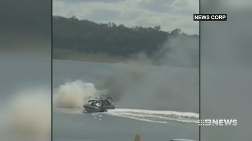 The Sunshine Coast man managed to douse the fire with three 'doughnuts' on his jet ski. (9NEWS)