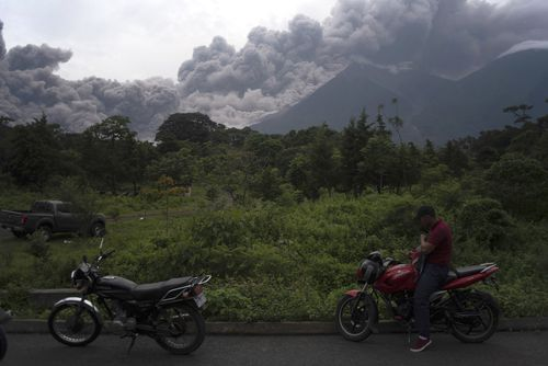 Thick clouds of deadly ash spew from the Volcano of Fire in Guatemala. Picture: AAP