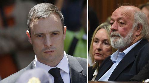 Oscar Pistorius (left) and Reeva Steenkamp's parents.