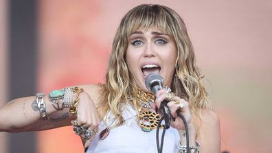 Miley Cyrus performs on the Pyramid Stage on day five of Glastonbury Festival at Worthy Farm.