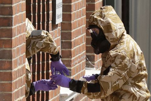 British police are scouring sections of Salisbury and Amesbury in England, searching for a container feared to be contaminated with traces of the deadly nerve agent Novichok. Picture: AAP