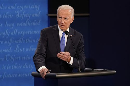 Democratic presidential candidate former Vice President Joe Biden answers a question during the second and final presidential debate Thursday, October 22, 2020.