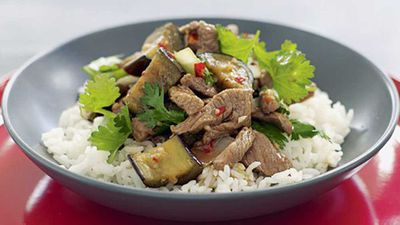 "<a href=""http://kitchen.nine.com.au/2016/05/17/11/18/thai-lamb-eggplant-and-coriander"" target=""_top"" draggable=""false"">Thai Lamb, eggplant and coriander</a> recipe"