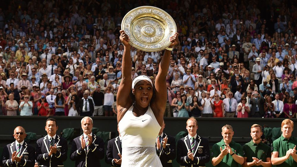 Serena Williams celebrates her Wimbledon victory. (AFP)