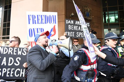 United Patriots Front (UPF) supporter Neil Erikson is seen at the Magistrates Court in Melbourne in September. (AAP)