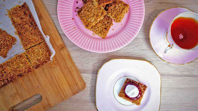Whipped coconut topped three-ingredient flapjacks