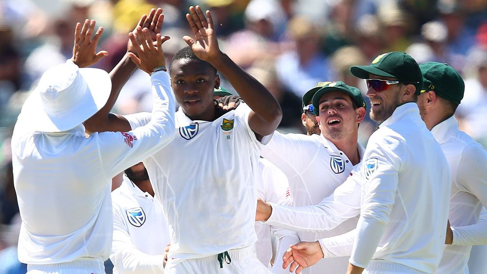 Kagiso Rabada and teammates celebrate a wicket. (Getty Images)