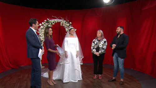A Spotlight seamstress  recreated Meghan's dress in under 10 hours overnight. Picture: 9NEWS