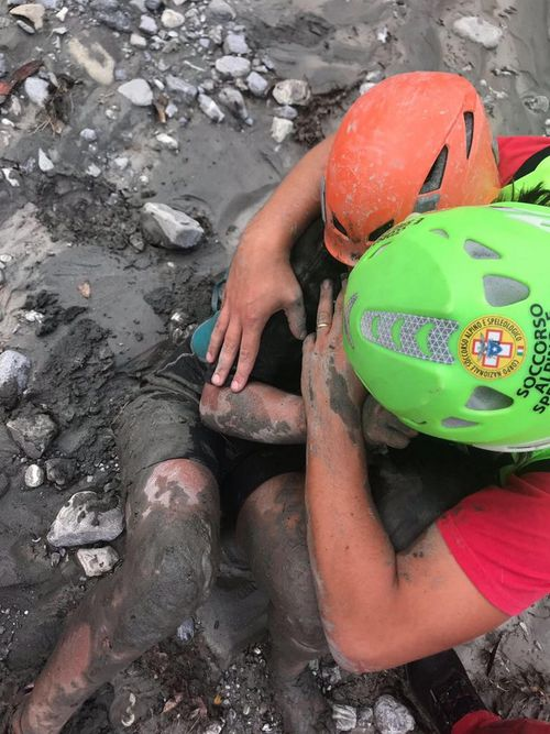 An eight year-old girl is rescued by the mountain rescue service in the gorge of Raganello where ten people were killed.