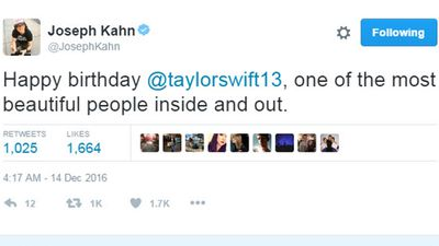 <p>Taylor's music video director Joseph Kahn ('Blank Space'/Bad Blood'/'Wildest Dreams'/'Out of The Woods')</p>