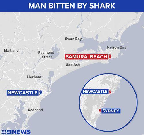 A swimmer has been bitten by a shark off Samurai Beach in Port Stephens.