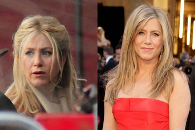 """Jen's outfit was deemed by red carpet commentators as """"boring, but her """"Rachel"""" hair style will never go out of style."""